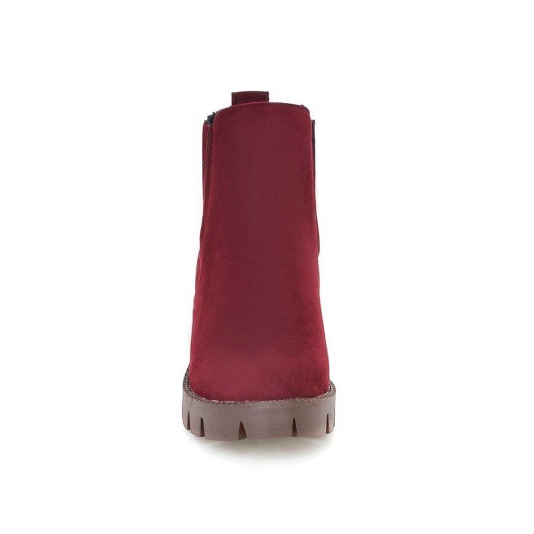 ZQ@QXHerbst und Winter runden Kopf Kopf Kopf wasserdicht Taiwan dick mit hochhackigen Schuhe minimalistisch und vielseitig Set foot Student Mädchen Stiefel kurze Stiefel ROT ee7acb