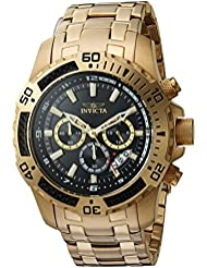 Invicta Mens Pro Diver Quartz and Stainless Steel Casual Watch, Color:Gold-Toned (Model: 24855)