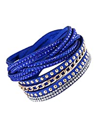 Multi Strap Slake Studded Crystal Encrusted Strand Swarovski Elements Blue Suede Adjustable Strap Double Wrap Bracelet