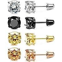Jstyle 4Pairs CZ Stud Earrings for Women Mens Cartilage Earring Studs Set Stainless Steel Rhinestone Earrings 4-8mm 18G