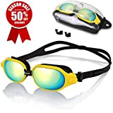 Pansonite Swim Goggles,Adjustable Swimming Goggles with Nose Clip + Free Protection Case,Anti-Fog UV Protection Swim Glasses for Unisex Adult Men Women Youth Kids Child (Yellow)
