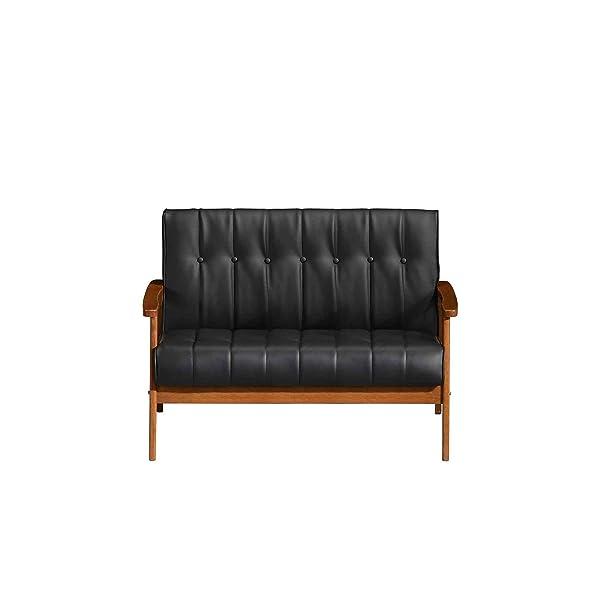 fat june Aarhus Rama Loveseat, Black Faux Leather