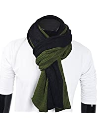 FORBUSITE Men Knit Long Winter Scarf Soft Green with Black E5002