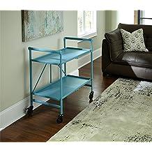 Indoor or Outdoor Folding, Metal, Rolling Serving Cart, Teal