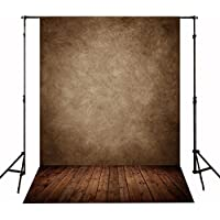 CXJ 5x7 Feet Wood Floor Photography Backdrops Suede Cloth Brown Wall Photo Background for Photography Studio J01391