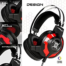 """ONEXELOT Gaming Headset-2018 New Model """"ANUBIS"""" Gaming Headphone with Noise Isolation Microphone Surround Stereo Sound, Over-the-Ear Noise Isolating For PC Gamers (Black-Red)."""