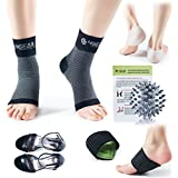 4GEAR Plantar Fasciitis Relief & Recovery Kit - 9 PCs - Foot Care Compression Sleeves, Silicone Heel Protectors, Massage Ball, Cushioned Arch Supports & Inserts –Pain Relief & Increase Circulation