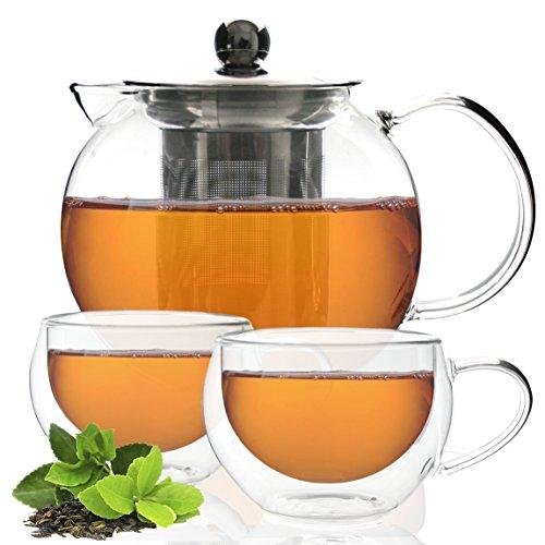 Tea Branch Glass Tea Set, Glass Teapot, Tea Infuser and 2 Double-Wall Insulated Glass Cups, Tea Maker For Loose Tea, Iced Tea, Blooming, Borosilicate Glass, Tea Pot 27 oz, 800 mililiter