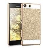 kwmobile Funda Hardcase Diseño rectánculo brillantina para Sony Xperia M5 en oro blanco