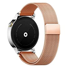 18MM 20MM 22MM Watch Bands Pinhen Milanese Loop Magnet Mesh Stainless Steel Watch Band For LG Samsung Gear S3 Frontier Classic Moto 360 Pebble Time Smart Watch (22MM Rose)