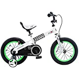 RoyalBaby Boys Girls Kids Bike 16 Inch Buttons Bicycles with Training Wheels Kickstand Child Bicycle Green