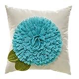 New Creative Blue Bloom 18 inch Burlap Outdoor Safe Pillow