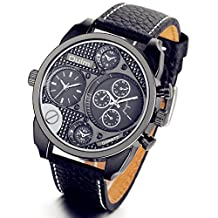 Lancardo Classic Men's Boys Two Time Zone Business Quartz Wrist Watch Black with Gift Bag