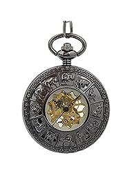 Timeconcept Zodiac Retro Vintage Men's Black Mechanical Hand Wind Up Pocket Watch Steampunk