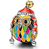NINAQUEEN Skiing Owl 925 Sterling Silver Multicolor Enamel Happy Family Animal Charms for Pandöra Bracelets Necklace Birthday Anniversary Christmas Jewelry Gifts For Women Wife Her Teen Girls Daughter