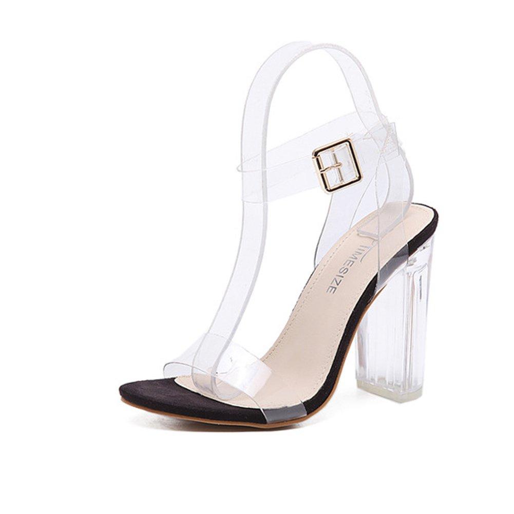 Transparent Kristall Riemchen Buckle Sandalen mit Schuhe Absatz Shallow Mund Schuhe mit Elegant Trend 2017 Sommer Pumps Damen 9e8fea