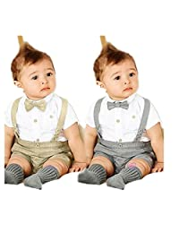Newborn Toddler Baby Boys T-Shirt+Overalls+Bow Tie Outfits Set Suit Clothes by XILALU (12M, Gray)