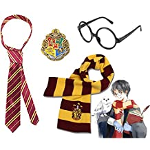 Harry Potter Striped Knit Scarf Striped Tie with Novelty Glasses & College Badge for Cosplay Party Costumes College Accessories Kid's Gift, 4 PCS