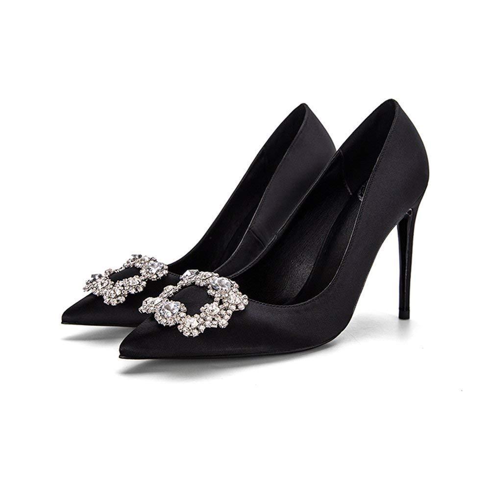 Schuhe 10cm Schwarz Braut, High Heels, Feiner Ferse Flacher Mund Satin Strass Square Schnalle Single (Farbe   schwarz10cm, Größe   39 EU)