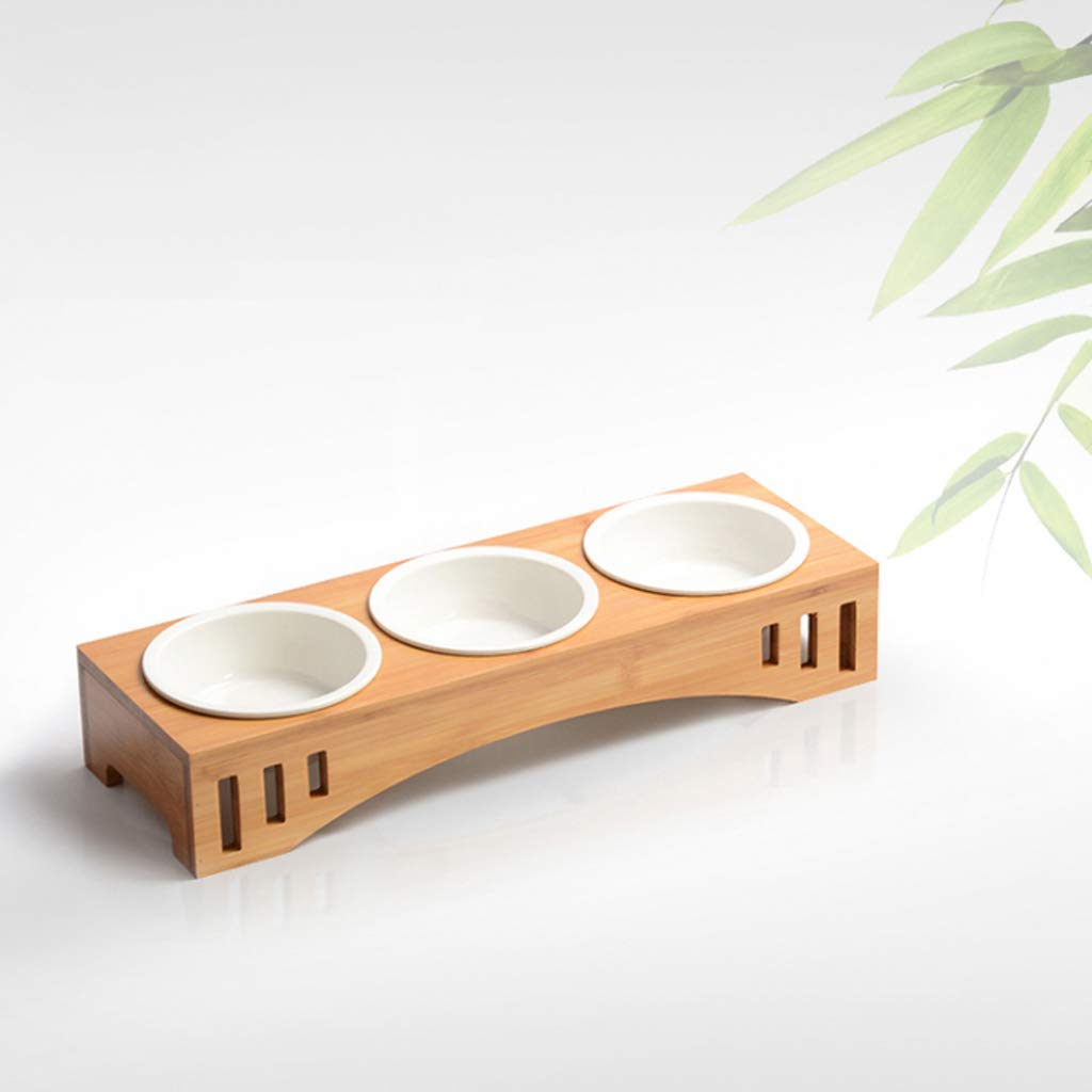 HVTKL Drinking Water Bowl Solid Wood Dining Table Three Ceramic Bowl Cat Food Dog Food Bowl Pet Supplies