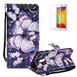 Funyye Strap Magnetic Flip Case for Samsung Galaxy A8 2018,Elegant 3D Purple Butterfly Fantasy Painted Design Folio Wallet Pocket with Stand Credit Card Holder Slots Soft Silicone PU Leather Case for Samsung Galaxy A8 2018,Full Body Shockproof Non Slip Smart Durable Shell Protective Case for Samsung Galaxy A8 2018 + 1 x Free Screen Protector