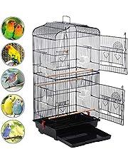 Yaheetech Gabbia Voliera per Uccelli Pappagalli Inseparabili Parrocchetti in Metallo e Legno con Molte Porte e Posatoi 46 x 36 x 92 cm Nera
