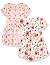 Girls, Toddler, and Baby Organic Cotton Short-Sleeve Dresses, Coral Garden, 6-9 Months