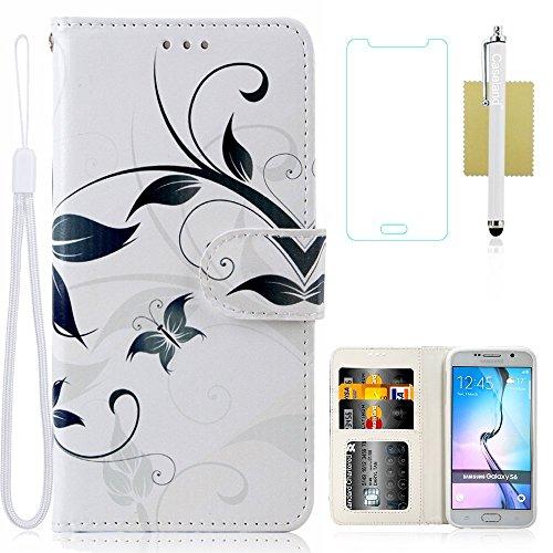 Galaxy S6 Case,Galaxy S6 Wallet Case,CASELAND [Premium Pattern] Wallet Stand PU Leather Fashion Design Flip Cover Case For Samsung Galaxy S6 [White Flower]