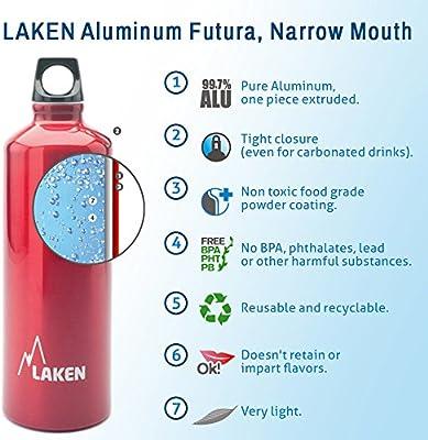 Laken Botella de Aluminio 0,6L Roja Futura (Boca Estrecha): Amazon ...