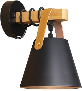 gbly retro applique murale noir e27 applique murale bois vintage industriel lampe de lit lampe de nuit pour salon chambre cuisine salle a manger