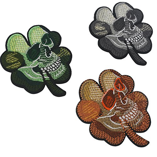 3PCS Small Realistic Cracked Skeleton Skull Within Irish Four Leaf Clover Tactical Patch Embroidered DIY Patches Applique Hook and Loop Backing for Backpacks Jackets Jeans Clothes-2.56 x 3.15 -