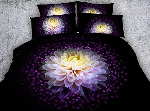 SAIAONG Black Love Flower Chrysanthemum 3D Printed Fabric Cotton Bedding Sets Twin Full Queen King Size Duvet Cover Pillow Sham (King)
