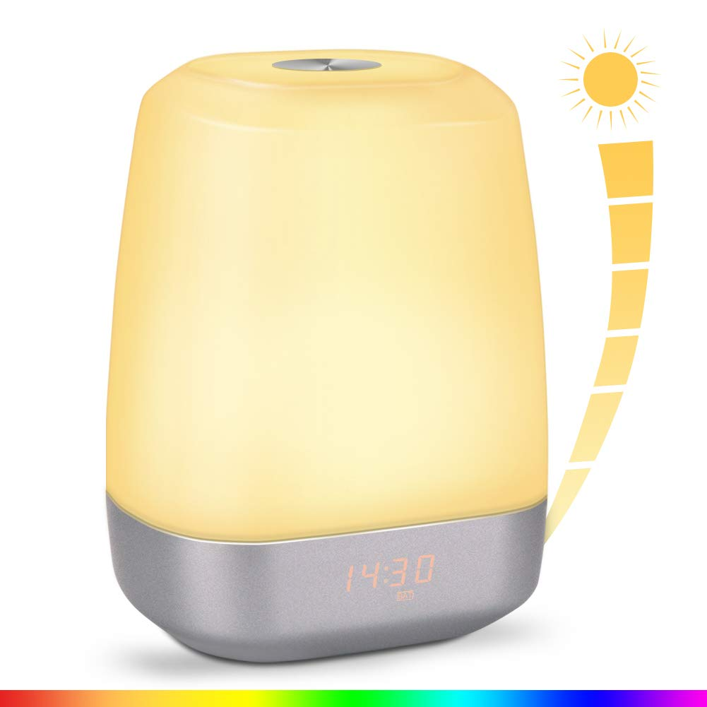 Alarm Clock Digital - Wake Up Light LED Bedside Lights Touch Control & Sunrise Simulator with Brightness Automatic Adjustment - Night Lamp with Eyes Protection - Simulator Mode 5 Nature Sounds & 256 Colors Light Modes - 3600 mAh Battery Operated and 120h Stand-by - Updated 2018 Version product image