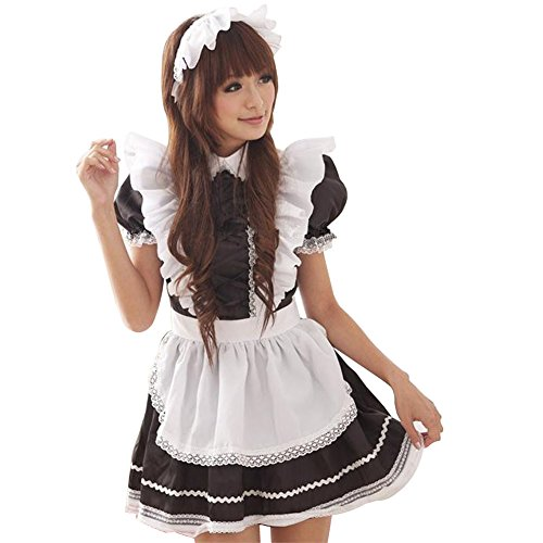 Flash Dance Latin Costumes (Brawdress Maid Cosplay Dress Stage Performance Costumes with Black and White Lotus Leaf Lace (M, Black and White))