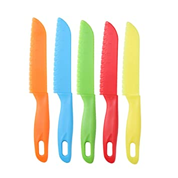 Cuchillo de plástico para niños con forma de letuce para cocina, cuchillo de seguridad para niños, 5 unidades