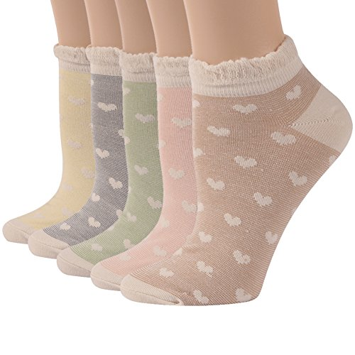 Ankle Dress Socks, Funcat New Year Gift Girls Womens Jacquard Fancy Cuff Breathable Frilly Casual Cotton Socks Low Cut 5 Pairs ()