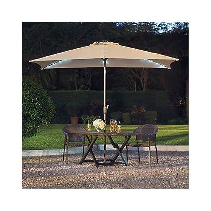 11 Foot Rectangular Aluminum Solar Patio Umbrella NATURAL ( Base Not  Included)
