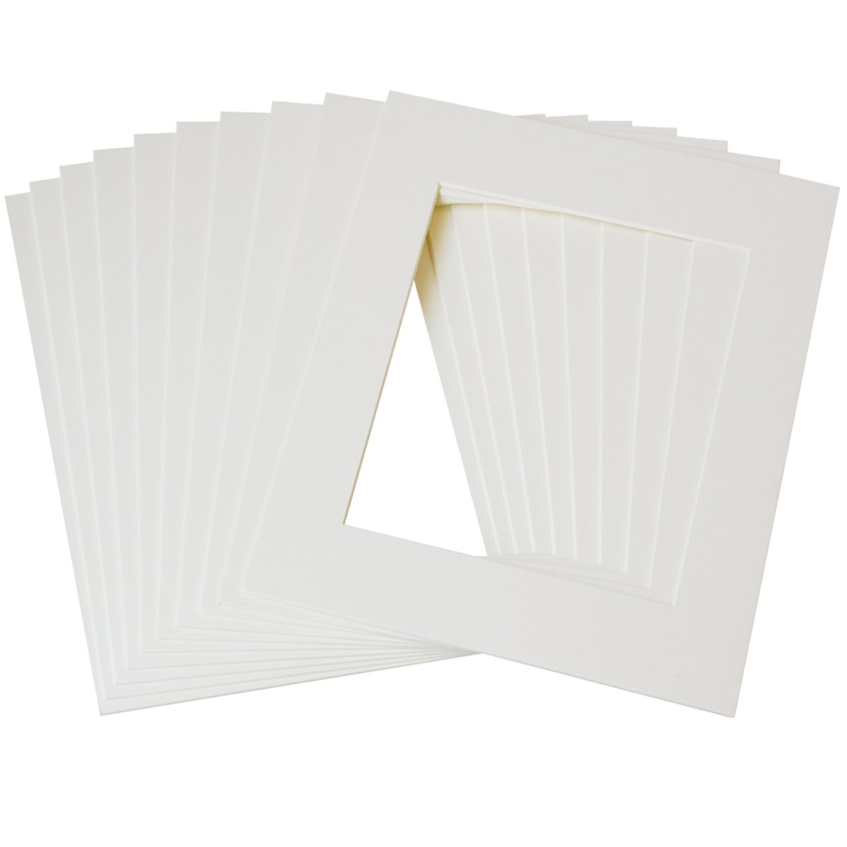 Betus 11x14 White Picture Mats, White Core Bevel Cut for 8x10 Pictures - Pack of 10 by Betus