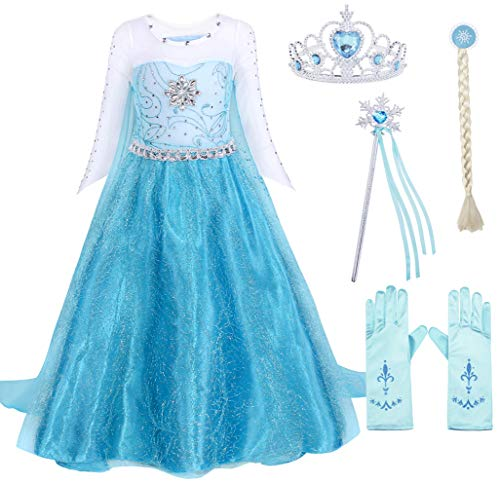 Cotrio Elsa Princess Dress Up Halloween Costume Outfits with Accessories Birthday Party Dresses Size 8 (130, 5-6Years, Wig, Gloves, Tiara/Crown, Wand/Scepter)