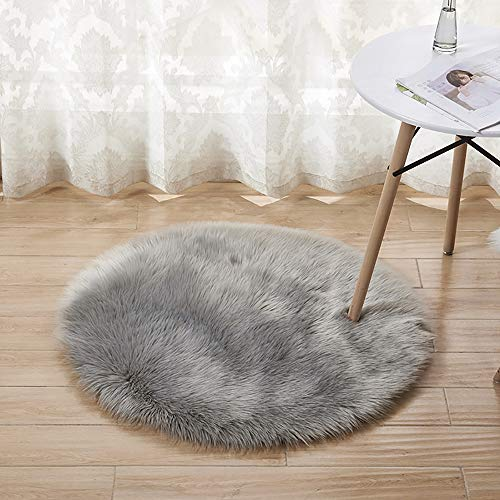 bedee Faux Sheepskin Rug, Faux Fur Rug, Faux Fleece Chair Cover Seat Pad Soft Fluffy Shaggy Area Rugs For Bedroom Living Room Kids Room (Round, Grey, 60x60cm)