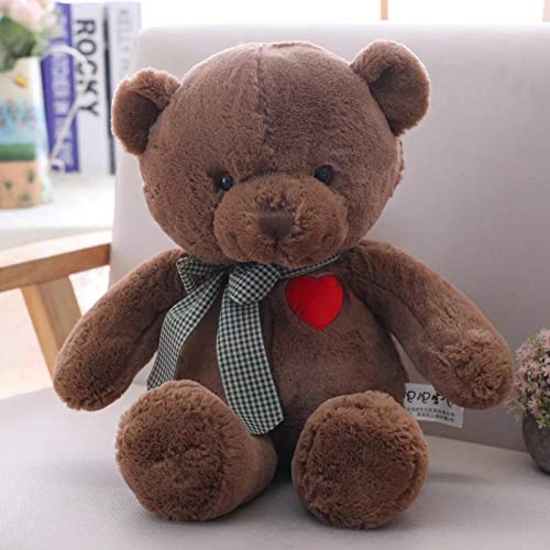 GOOGEE Teddy Bear - Love Teddy Bear with Heart Embroidery Plush Dolls Kids Toys for Baby Children Gifts Stuffed Bear - 14 Inch Total Length Chocolate - Foot Rose Tatty Cutter