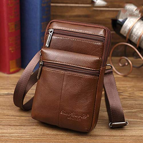 - ZHM Leather Cell Phone Bag 7 Inch Wear Belt Waist Bag Multifunction Sling Bag Business Messenger Bag Shoulder Bag for Men,C