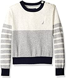 Nautica Little Boys Crew Neck Sweater With Button Shoulder, Oat Heather, X-Large/7X