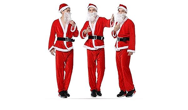 Amazon Com Bazaar Men S Christmas Performance Clothes Gold Velvet Santa Claus Costume Hat Beard Garment Pants Belt Kitchen Dining