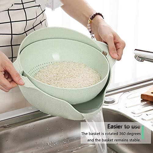 2-In-1 Küchen Filter Seiher, Abnehmbare Seiher Seiher Set, Kunststoff Waschschüssel Und Sieb, Gebraucht Für Obst Und Gemüse Pasta, Reinigen, Waschen Drainage,Green