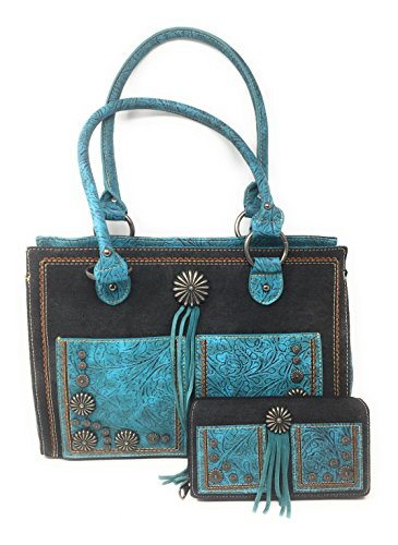 Set of Montana West Concealed Carry Zip Top Shoulder Bag Tote Floral Tooled Design With Concho and Denim Handbag Purse With Tassel And Western Styling With Matching Wallet - Tote Denim Shoulder
