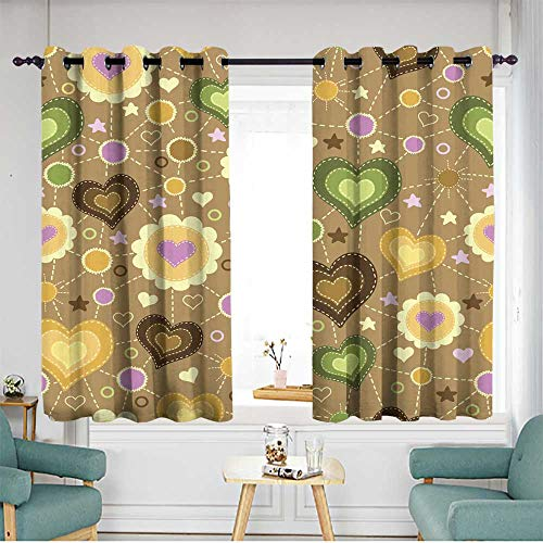 Fbdace Curtains for Bedroom Seamless Pattern with Applique of Hearts Insulated with Grommet Curtains for Bedroom W 55