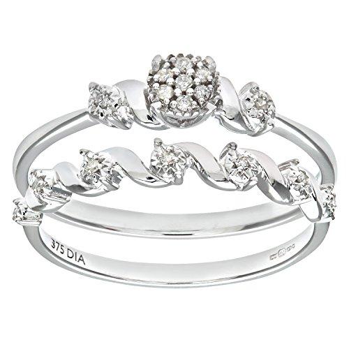 Ensemble Bague de fiançailles et alliance Femme - Or Blanc 375/1000 (9 Cts) 2.5 Gr - Diamant