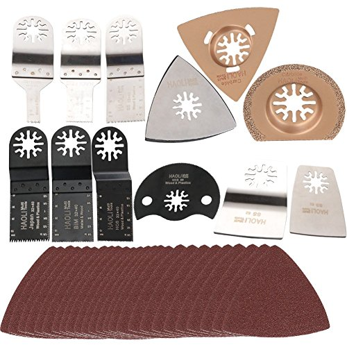HAOLI 37 pcs Oscillating Multi Tool Saw Blades Bundle for Multifunction Power Tool Accessories Such as FEIN,Dremel,Makita,Bosch ,with Carbide Blades