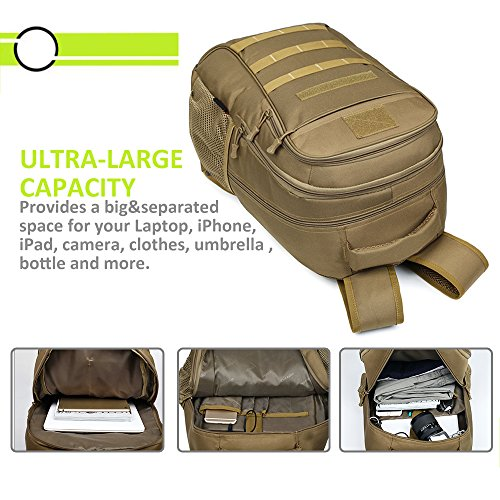 Backpack, Schoolbag, Business Laptop Computer Rucksack, Tactical Backpack, with USB Charging Port and Headset Port, Suitable for Outdoor Exercise, School, Cycling and Travel by Qcute (Image #5)